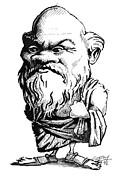Caricature Portraits Posters - Socrates, Caricature Poster by Gary Brown