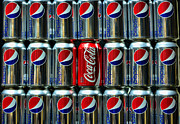 Pop Can Posters - Soda - coke vs. pepsi Poster by Paul Ward