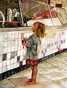 Child Paintings - Soda Girl by CJ  Rider