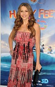 Striped Dress Art - Sofia Vergara Wearing A Carolina by Everett