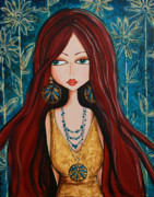 Redhead Mixed Media Framed Prints - Sofias Garden Framed Print by Debbie Horton