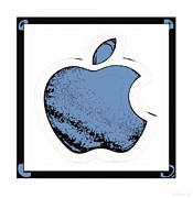 Ipod Digital Art Framed Prints - Soft Blue Apple Framed Print by Rob Hans