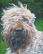 Pup Painting Framed Prints - Soft Coated Wheaten Terrier Framed Print by Lee Ann Shepard