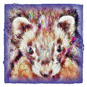 White Ferret Posters - Soft Ferret Poster by Terry Mulligan