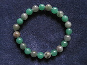 Grey Jewelry Originals - Soft Green Stripes Bracelet by Susan Mountainspring