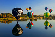 Hot-air Balloons Prints - Soft Landings Print by Mike  Dawson