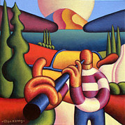 Session Musician Prints - Soft Musician With Cottage In Landscape Print by Alan Kenny