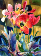 Flower Design Painting Posters - Soft Quilted Tulips Poster by Kathy Braud