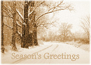Snowy Road Posters - Soft Sepia Seasons Greetings Card Poster by Carol Groenen