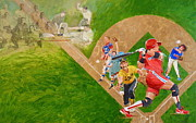 Batting Mixed Media - Softball by Cliff Spohn