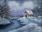 Snowy Trees Paintings - Softest Snow by Cathy Shepard