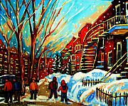Montreal Street Life Paintings - Softly Snowing by Carole Spandau