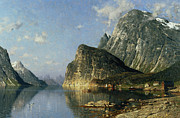 Norway Painting Framed Prints - Sogne Fjord Norway  Framed Print by Adelsteen Normann