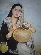 Romeo And Juliet Paintings - Sohni Mahiwal by Sandeep Kumar Sahota