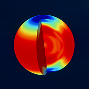 Whole Sun Art - Soho Image Of Solar (sun) Rotation Rate With Depth by Nasa
