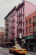 Nyc Fire Escapes Framed Prints - SoHos pink house Framed Print by Benjamin Matthijs