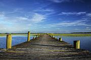 Clouds Digital Art Originals - Sol Legare Wooden Dock Vanishing Point by Dustin K Ryan