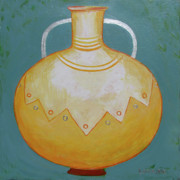 Pot Drawings Metal Prints - Sol Mate Metal Print by Loraine LeBlanc