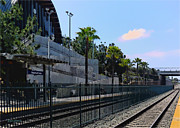 Train Digital Art Originals - Solana Beach Train Station by Russ Harris