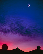 Solar Eclipse Photo Posters - Solar Eclipse Over Mauna Kea Observatory Poster by Magrath Photography