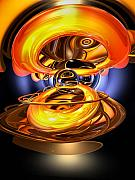 Liquid Gold Posters - Solar Flare Abstract Poster by Alexander Butler