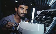 Man Machine Prints - Solar Lantern Manufacture Print by Volker Steger