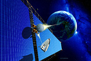Laser Beam Prints - Solar Power Satellite Print by Detlev Van Ravenswaay