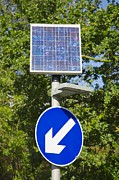 Solar Panel Prints - Solar Powered Road Sign, Uk Print by Paul Rapson