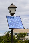 Engineering Framed Prints - Solar Powered Street Lamp In Florida Usa. Framed Print by Mark Williamson