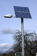 Solar Framed Prints - Solar Powered Street Light, Uk Framed Print by Mark Williamson