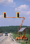 Traffic Control Photo Posters - Solar-powered Traffic Lights Poster by Alan Sirulnikoff