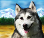 Huskies Digital Art Posters - Solar - Siberian Husky Poster by Michelle Wrighton