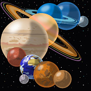 Planets Drawings - Solar System by Mark Giles and Photo Researchers