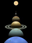 Earth Digital Art - Solar system planets in alignment around sun by Nicholas Burningham