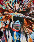 War Paint Prints - Solar Warrior Print by Terril Heilman