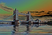 Flood Digital Art Prints - Solarised Tower Bridge Print by Sharon Lisa Clarke