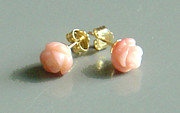 Post Jewelry - SOLD  14K Gold Coral Rose Earrings by Robin Copper