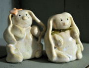 Baby Ceramics - SOLD Bunny Rabbit Pottery  by Amanda  Sanford