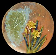 Red Leaves Ceramics - SOLD Daffodil Plate by Amanda  Sanford
