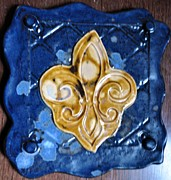 Decor Ceramics Originals - SOLD Fleur De Lis Trivet by Amanda  Sanford
