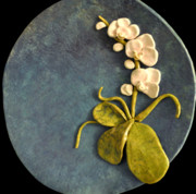 Orchids Ceramics - SOLD Huge Circle Orchid Platter by Amanda  Sanford