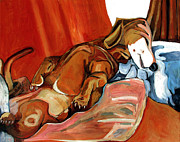 Dachshund Paintings - Sold Hughie The Dog Boy Wonder by Charlie Spear