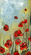 Impasto Drawings Posters - SOLD MOM and POPpies Poster by Amanda  Sanford