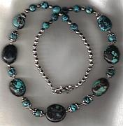 Fetishes Jewelry - SOLD Natural Turquoise Pebble set  by White Buffalo