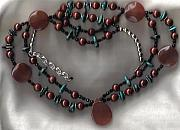 Landmarks Jewelry - SOLD OOAK Natural Turquoise and Sunset Agate Collar  by White Buffalo