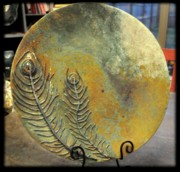 Large Ceramics - SOLD Peacock Plate by Amanda  Sanford