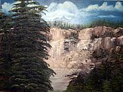 Waterfalls Paintings - SOLD--Prints only--High Waterfalls by Edward C Van Wicklen Sr