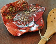 White Flower Ceramics - SOLD Red Spoon Rest  by Amanda  Sanford