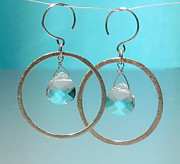 French Jewelry Originals - SOLD Swarovski Crystal Tear Drop Hoop Earrings  by Robin Copper