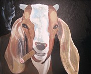 Goat Painting Originals - SOLD The Smokin goat by Charlie Mumah